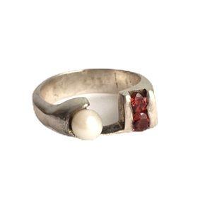 Vintage Modernist Garnet & Pearl Ring Sterling
